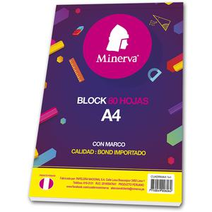 Block A4 80 Hojas Cdmax 2 Perforaciones Minerva