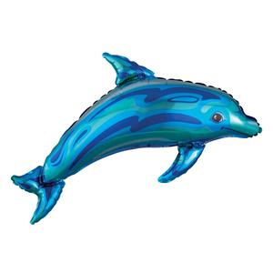 Globo Delfín Azul 94Cm Sin Inflar