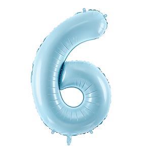 Globo Num 6 86Cm Azul Sin Inflar
