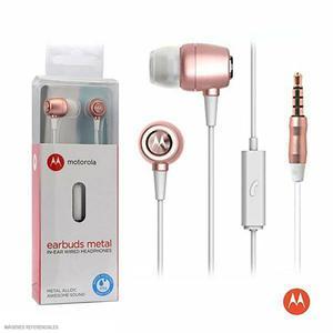 Motorola Audífono Intrauditivo Con Micrófono Earbuds Metal Oro Rosa