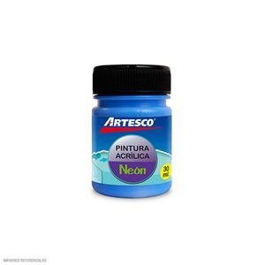 Pintura Acrilica Mate Neon 30Ml Azul Artesco