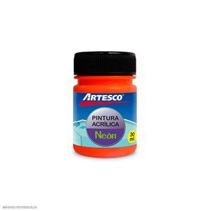 Pintura Acrilica Mate Neon 30Ml Naran Artesco