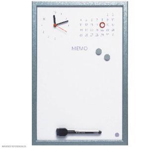 Pizarra Magnética Con Reloj Marco Gris