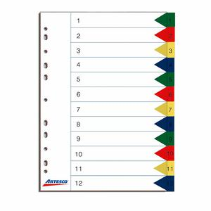 Separadores Index Polipropileno 12 Divisiones