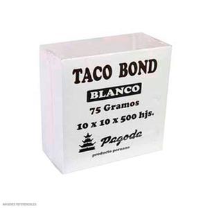 Tacos Bond Blancos 75Gr 8X8 Cm. X 500 H