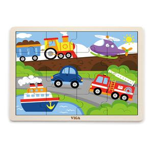 Viga Rompecab 16Pz Madera Transpor 51456